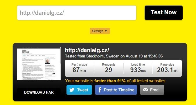 Měření rychlosti webu Pingdom