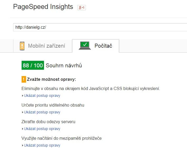 Měření rychlosti webu
