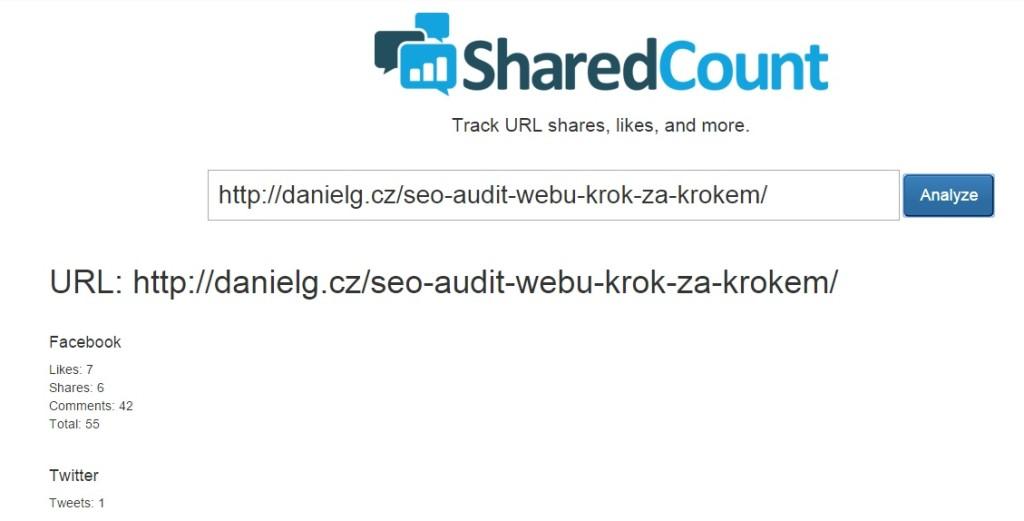 Nástroj SharedCound pro zjištění počtu sdílení