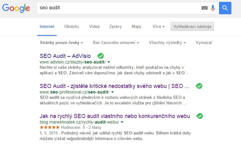 """Výsledky v Google vyhledávači na klíčové slovo """"seo audit""""."""