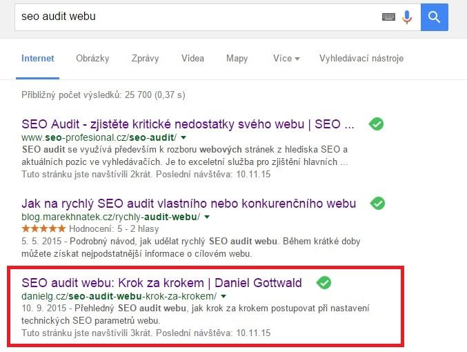 Zobrazení mého webu ve vyhledávači Google na danou frázi.