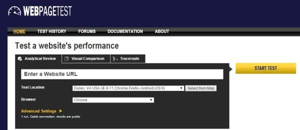 Nástroj Webpagetest